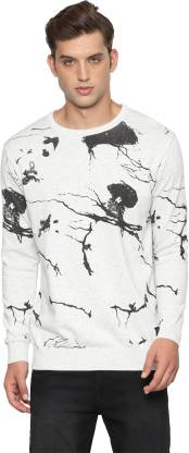 People Self Design Crew Neck Casual Men White Sweater