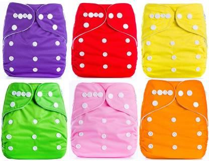 Babymoon (PACK of 6) Diaper Covers Premium Adjustable Reusable Pocket Cloth Diaper