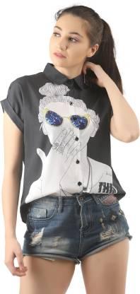 LAYA Women Graphic Print Casual Grey Shirt