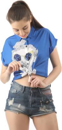 LAYA Women Solid Casual Blue Shirt