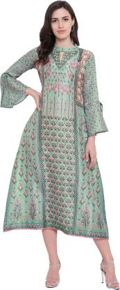 Floral Print Silk Blend Stitched Flared/A-line Gown  (Green)