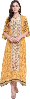 Floral Print Silk Blend Stitched Flared/A-line Gown  (Yellow)