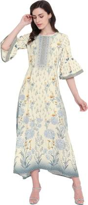 Floral Print Silk Blend Stitched Flared/A-line Gown  (White)