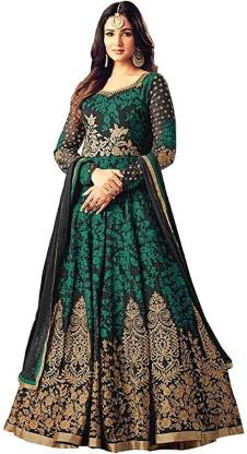 Houndstooth Art Silk Semi Stitched Anarkali Gown  (Green)