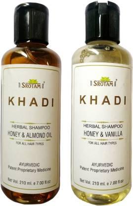 Srotam KHADI HERBAL HONEY & ALMOND OIL AND HONEY & VANILLA SHAMPOO 210 M