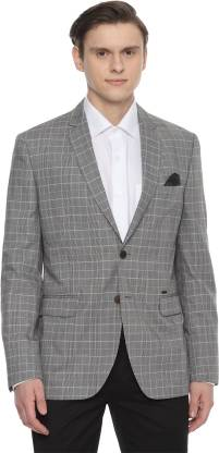 Checkered Single Breasted Casual Men Blazer  (Grey)