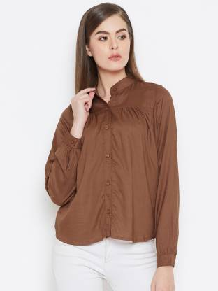 Purys Women Solid Casual Brown Shirt