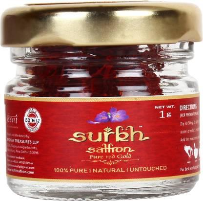 SURKH Saffron - 1 Grams - Premium Pack - 100% Pure I Natural I Untouched Grade 1 Saffron / Kesar