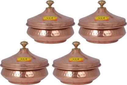 Shivshakti Arts Steel Copper Mughlai Hammered Handi Volume-350 ml With Lid Cookware Set