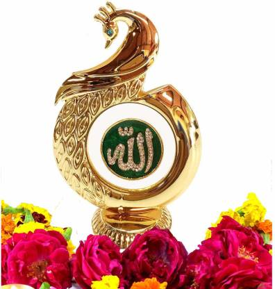 INTERNATIONAL GIFT Gold Plated Peacock Shape Allah God Idol Car Dashboard, Home Temple (12 Cm, Gold) Decorative Showpiece  -  12 cm