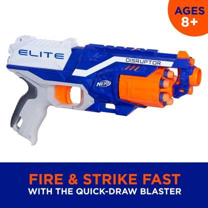 Nerf Disruptor Elite Blaster,6-Dart Rotating Drum,Slam Fire Guns & Darts