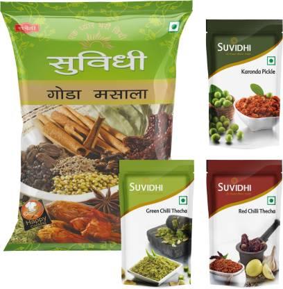 Suvidhi Goda Masala 200gm, Karonda Pickle, Red Chilli Thecha 100gm Combo