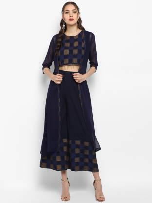 Janasya Women Ethnic Jacket, Kurta and Palazzo/Trouser Set