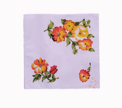 "Your's Favourite Women's Cotton White Floral Printed [""Multicolor""] Handkerchief"