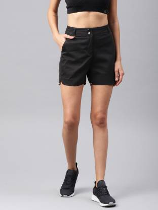 Solid Women Black Sports Shorts