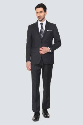 Louis Philippe Black Two Piece Suit Two Piece Suite Solid Men Suit