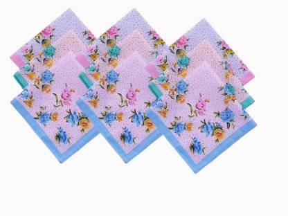"Your's Favourite Women's High Quality Full Size Floral Printed ( Pack of 12) [""Multicolor""] Handkerchief  (Pack of 9)"