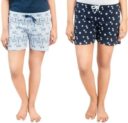 A9 Printed Women Dark Blue, White Night Shorts