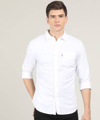Levi's Men Solid Casual White Shirt