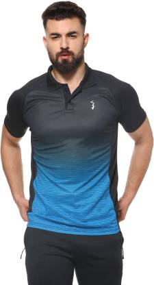 Campus Sutra Tie & Dye Men Polo Neck Blue T-Shirt