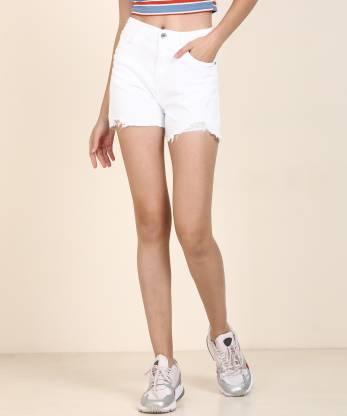 Spykar Solid Women White Denim Shorts