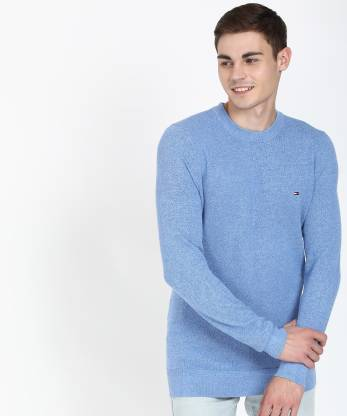 Tommy Hilfiger Woven Round Neck Casual Men Blue Sweater