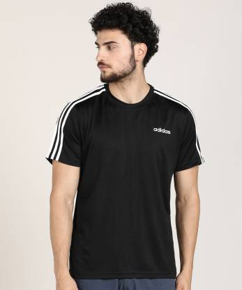ADIDAS Sporty Men Round Neck Black T-Shirt