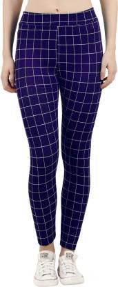 Just Live Fashion Checkered Women Dark Blue Tights