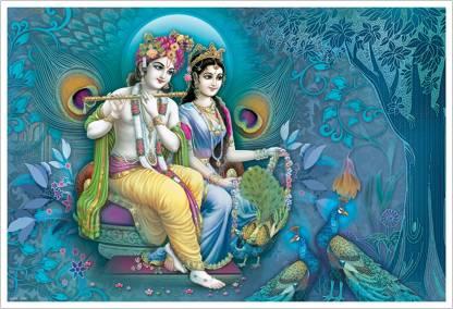 Lord Radha Krishna playing Flute Paper Poster Paper Print