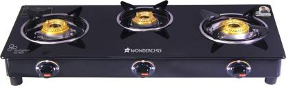 WONDERCHEF Ruby Black 3 Burner Glass Glass Manual Gas Stove