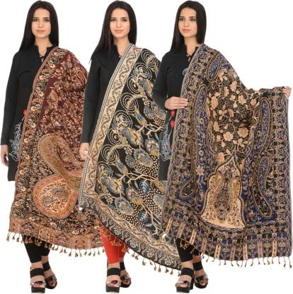 ZEPPI Wool Solid Women's Shawl  (Multicolor)