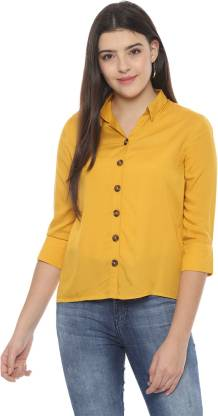 Women Solid Casual Spread Shirt