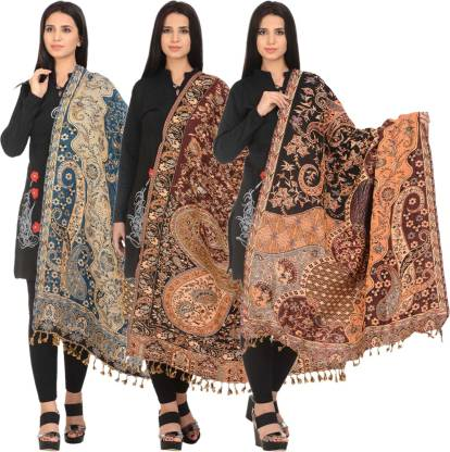 ZEPPI Wool Solid Women Shawl  (Multicolor)