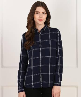 Lee Women Checkered Casual Dark Blue Shirt