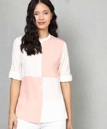 Metronaut Women Color Block Casual White, Pink Shirt