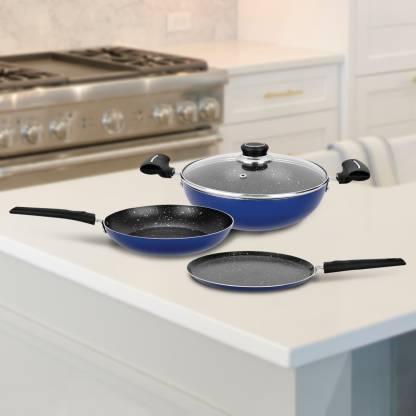 Renberg Blue Orchid Cookware Set  (Aluminium, 4 – Piece)