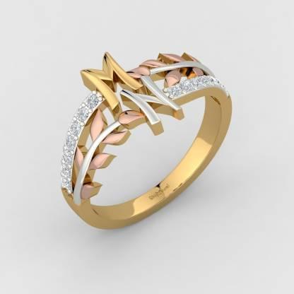 ShipJewel M N Letter ring 14kt Diamond Yellow Gold ring