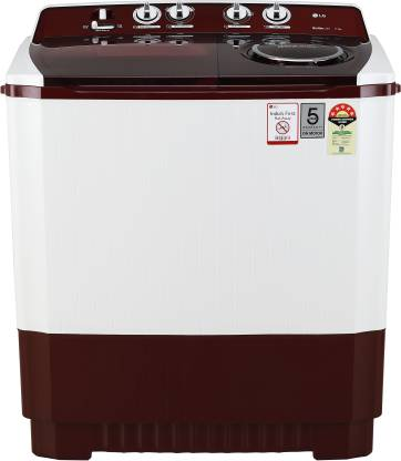 LG 11 kg 5 Star Rating Semi Automatic Top Load Maroon, White