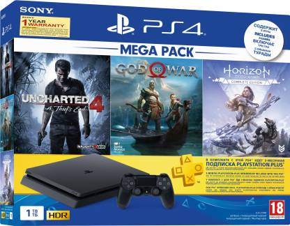 Sony PS4 Slim 1 TB with Horizon Zero Dawn, God of War, Uncharted 4