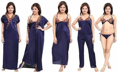 Women Nighty Set(Dark Blue)