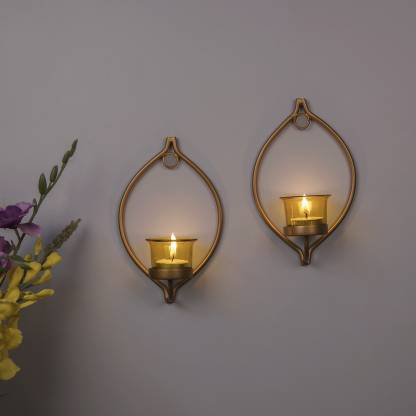 Homesake Set of 2 Decorative Golden Eye Wall Sconce/Candle Holder With Yellow Glass and Free T-light Candles Glass, Iron Tealight Holder Set