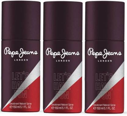 Pepe Jeans LondoN Lets Have Fun (Brown_ For His -Pack Of 3 Deodorant Spray  -  For Men