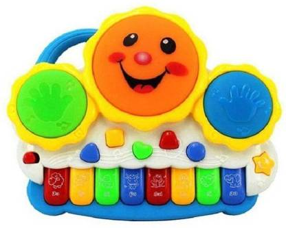 TOYBIN Musical Electronic Smiley Drum Plus Piano With Flashing Lights and also Melodious Music