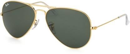 Ray-Ban Gold-Tone Geometric Pilot Sunglasses