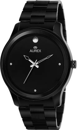 AUREX AX-GR165-BKB Black Ion Plated Round Shaped Black Dial Black Ion Plated Stainless Steel Bracelet Premium Watch for Men/Boys Analog Watch - For Men