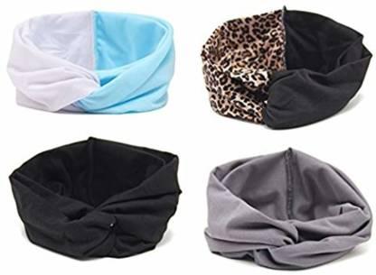 Gugzy Women Elastic Flower Printed Plain Turban Head Wrap Headband Twisted Hair Band Head Band