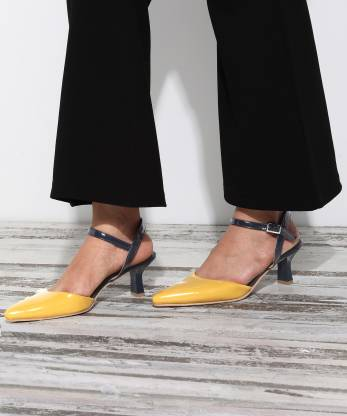French Connection Women Yellow, Blue Heels