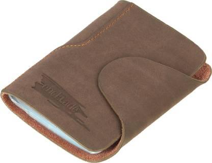 Encelade Brown Leather Business Cash & Cards 20 Card Holder