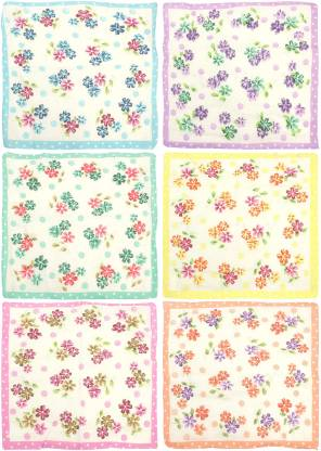 "Neska Moda Women's Floral Cotton [""Green"",""Blue"",""Pink"",""Orange"",""Yellow""] Handkerchief  (Pack of 6)"