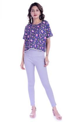 HANDICRAFT-PALACE Casual Half Sleeve Floral Print Women Blue Top